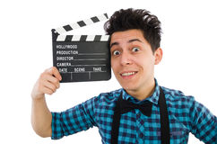 Man with movie clapperboard isolated Stock Photos