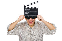 Man with movie clapperboard isolated Stock Images