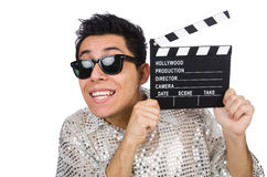 Man with movie clapperboard isolated Royalty Free Stock Photo