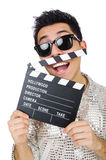 Man with movie clapperboard isolated Stock Photography