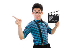 Man with movie clapperboard isolated Royalty Free Stock Photography