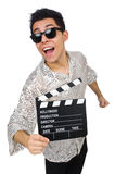 Man with movie clapperboard isolated Stock Photo