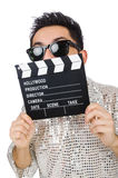 Man with movie clapperboard isolated Stock Image