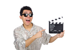 Man with movie clapperboard isolated Royalty Free Stock Images