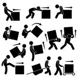 Man Moving Box Actions Postures Clipart. A set of human pictogram representing methods and ways for a man to move a big box. This include many postures and poses Royalty Free Stock Photos
