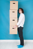 Man moving with boxes Royalty Free Stock Image