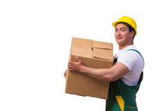 The man moving boxes isolated on the white background Royalty Free Stock Images