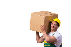 The man moving boxes isolated on the white background Stock Photo