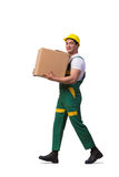 The man moving boxes isolated on the white background Stock Images