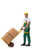 The man moving boxes isolated on the white background Royalty Free Stock Image