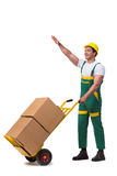 The man moving boxes isolated on the white background Royalty Free Stock Photos