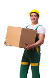 The man moving boxes isolated on the white background Stock Photos