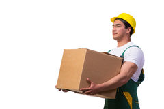 The man moving boxes isolated on the white background Royalty Free Stock Photography