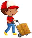 Man Moving Boxes On Trolley Cart Royalty Free Stock Photos