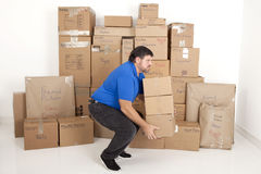 Man moving boxes. Stock Photo