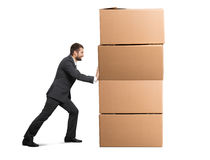 Man moving cardboard boxes Royalty Free Stock Photo
