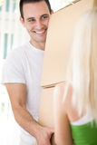 Man moving in with girlfriend Stock Photo