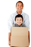 Man moving with his family Royalty Free Stock Images