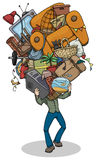 Man, moving, with huge pile of things. Cartoon of a Man, moving, with huge pile of things, furniture and objects balanced in hands vector illustration