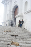 Man moving incense at the Church of Santo Tomas at Chichicastena Stock Image