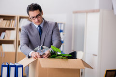 The man moving office with box and his belongings Stock Photography