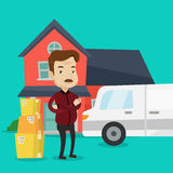 Man moving to house vector illustration. Royalty Free Stock Images