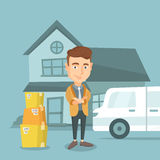 Man moving to house vector illustration. Stock Photos