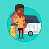 Man moving to house vector illustration. Royalty Free Stock Photo