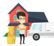Man moving to house vector illustration. Royalty Free Stock Image