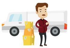 Man moving to house vector illustration. Royalty Free Stock Photos