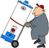 Man Moving A Water Heater. This illustration depicts a worker moving a gas water heater on a dolly Royalty Free Stock Images