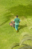 Man mowing grass Stock Images