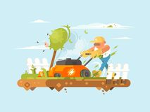 Man mowing grass. With electronic lawn mower. Vector flat illustration Royalty Free Stock Photos