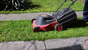 Man Mowing His Yard With Electric Lawn Mower stock video