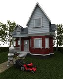 Man Mowing the Lawn. 3D render of a man mowing the lawn Stock Photo