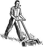 Man Mowing Lawn Royalty Free Stock Photography