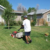 Man mowing lawn. Stock Photo