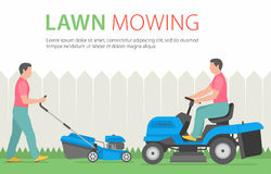 Man mowing the lawn with blue lawn mower. Man mowing the lawn with blue Tractor LawnMower Royalty Free Stock Image