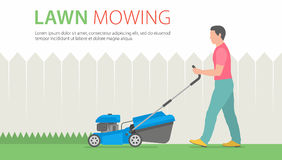 Man Mowing Lawn. Man mowing the lawn with blue lawn mower Royalty Free Stock Image