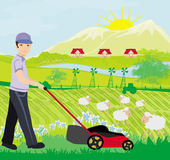 Man mowing the lawn. A  illustration of a man mowing the lawn Stock Images