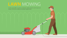 Man Mowing Lawn. Man mowing the lawn with red lawn mower Stock Image