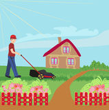 Man mowing the lawn. Vector Illustration Stock Photo