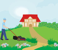 Man mowing the lawn. Vector Illustration Royalty Free Stock Photos