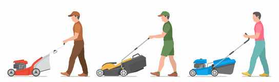 Man Mowing Lawn. Vector illustration flat design Royalty Free Stock Photography