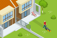 Man mowing the lawn with yellow lawn mower in summertime. Lawn grass service concept. Isometric vector illustration.  Royalty Free Stock Photography