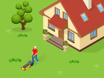 Man mowing the lawn with yellow lawn mower in summertime. Lawn grass service concept. Isometric vector illustration.  Royalty Free Stock Photos