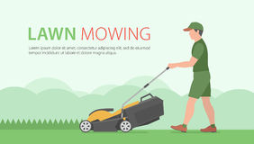 Man Mowing Lawn. Man mowing the lawn with yellow lawn mower Royalty Free Stock Image