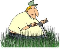 Man Mowing Tall Grass Stock Photos