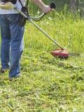 Man mows tall green grass petrol trimmer.  royalty free stock photo