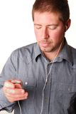 Man with mp3 player Royalty Free Stock Photos